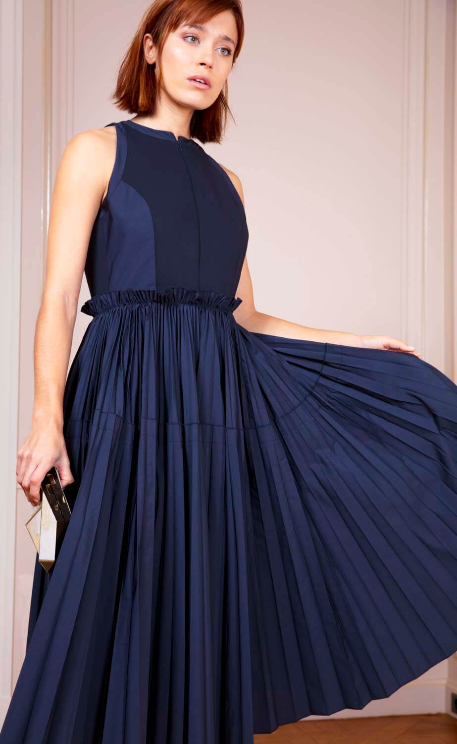 Navy midi dress with pleated skirt