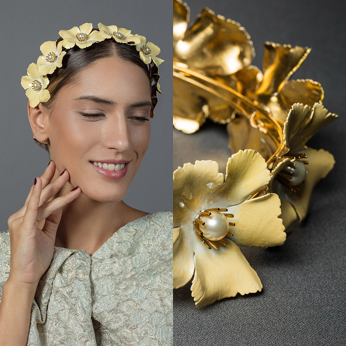 YELLOW HAND PAINTED, GOLD METAL AND PEARL FLOWER DECORATED HEAD PIECE