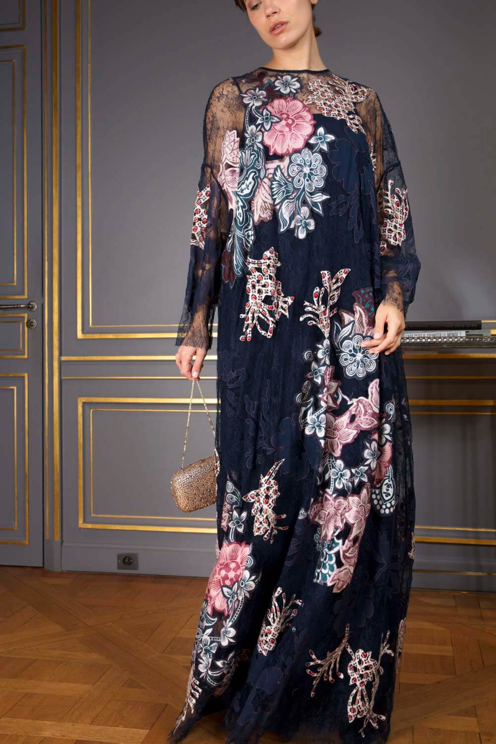 Midnight blue lace gown with pink and blue handcrafted appliqués