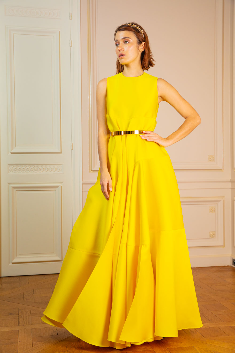 Canary yellow satin drop-waist tiered gown