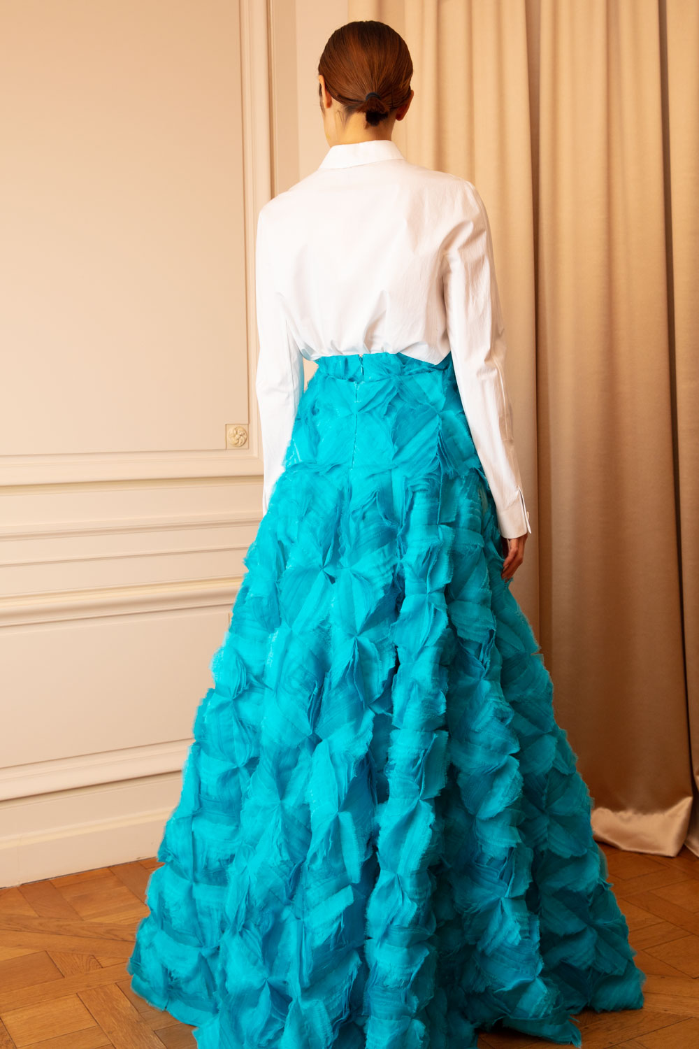 Turquoise silk-maxi skirt in diamond-ruched silk