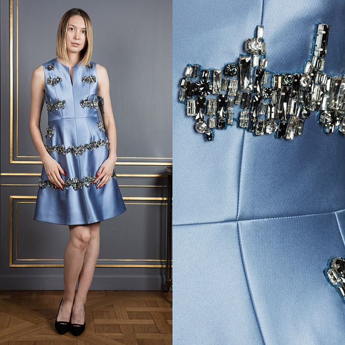 Blue A-line dress with glass embroidery